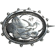 SALE Victorian Sterling Silver Aesthetic Movement Lucky Swallow Brooch