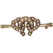 SALE Victorian 9K Gold Heart and Lucky Horseshoe Seed Pearl Bar Brooch