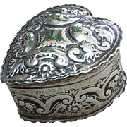 Victorian 1892 Silver Repousse Heart Shaped Snuff Box