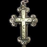 SALE Victorian Engraved Pinchbeck Crucifix Pendant