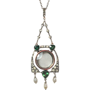SALE Arts and Crafts/Jugendstil Paste Diamond and Emerald 935 Silver Pendant with Pearl Drops