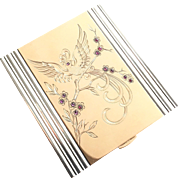 Art Deco Boucheron Style 18K Gold, Silver and Ruby Bird Compact