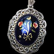 Vintage Victorian Style Sterling Silver Blue Enamel Locket