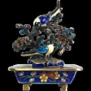 SALE Chinese Sterling Silver Cloisonné Enamel Magpies Sculpture Objet D'Art