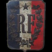 "French Tole ""République Francaise"" Painted Sign/Banner Display"
