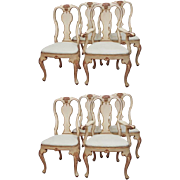 Set of Eight Painted Rococo Style Dining Chairs