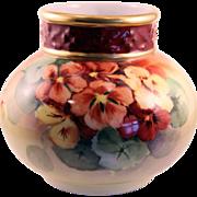 J.P. Limoges France Hand Painted Gilded Gold Water Vase