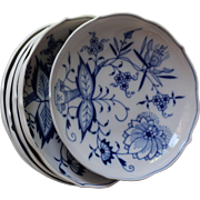 Meissen Blue Onion Coupe Fruit Cereal Bowls crossed sword mark