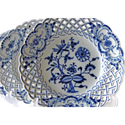 Set of Meissen Blue Onion Cross Sword Mark Reticulated Salad Plates