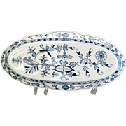 """REDUCED Antique Meissen Blue Onion 22"""" Fish Platter with crossed sword mark (SEIT1815)"""