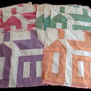 12 Vintage Schoolhouse Quilt Square Blocks