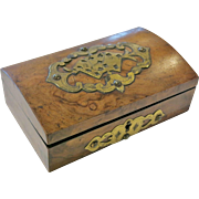 Late-19th Century Victorian Burl Walnut Dome Top Games Box