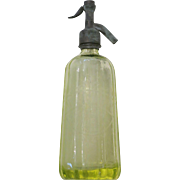 Vintage French Yellow Glass Seltzer Bottle