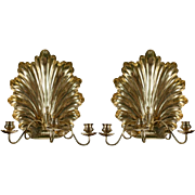 SALE Pair of Brass Shell Form Candle Sconces