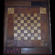SALE Unique 19th Century Hand Crafted Checker Board