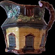 SALE English Majolica Hexagonal Cottage Pitcher