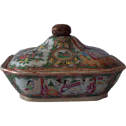 19th Century Rose Medallion Covered Dish