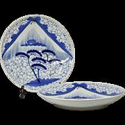 "Pair antique Japanese blue and white porcelain sansui Arita mountain plate 12"" Meiji/Edo"