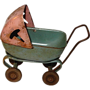 SALE c.1930 Metal Miniature Dollhouse Baby Buggy : Baby not included