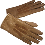 """Charming Pair of Child's 1940's Small Lined Leather """"Wear-Right"""" Gloves Size 0"""