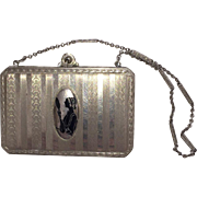 Art Deco Silhouette Compact with Carrying Chain