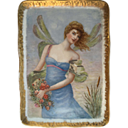Antique Victorian Porcelain China Dresser Tray Featuring Hand Painted Fairy Woman