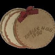 "Victorian ""Christmas 1890"" Seaside Handmade Scrap Souvenir Ornament"