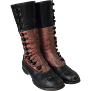 Amazing Victorian Child's High Button Tall Boots Shoes Black and Red Leather