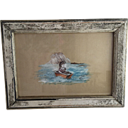 Victorian Painting on Silk of Little Girl on Boat with Fish