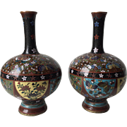 Pair of 19th C. Meiji Japanese Butterfly Vases