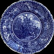 19th C. Rowland & Marsellus Staffordshire Dark Blue Plate Depicting Commodore Paul Jones