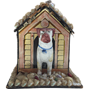 Victorian Shell Art Bank with Bisque Dog in House