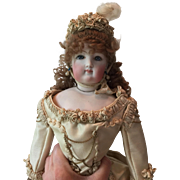 Antique Bisque French Fashion Doll in Gorgeous Cream Silk Ornate Dress Perfect Condition