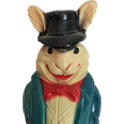 SOLD Vintage Celluloid Roly-Poly Patriotic Rabbit Dressed like Uncle Sam!
