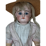 """Closed Mouth 15"""" German Kestner Bisque Doll in Antique Dress and Shoes"""