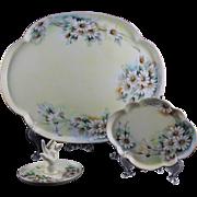 Antique Porcelain Dresser Set Tray Trinket Tray Ring Holder GDA & T & V Limoge France