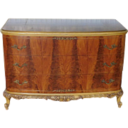 Fine French Satinwood & Mustard Yellow Painted 1920s 3 Drawer Bow Front Bedroom Dresser