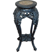 REDUCED Antique 19th Century Chinese Marble Inset Carved Rosewood Tabouret Plant Stand Table