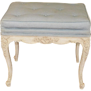 Fine 1960s Carved Frame French Provincial Tufted Upholstered Top Footstool ~ Bench 16 X 22 ...