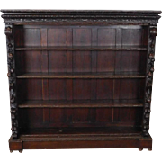 Antique Carved Scroll & Fruit Victorian Oak Open Front Bookcase Cabinet c1880