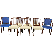 Very Good Set 8 1940s Mahogany American Federal Style Dining Room Chairs