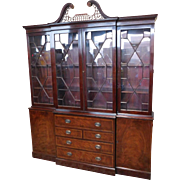 Very Fine Baker Furniture Banded Mahogany Dining Room ~ Library Bookcase Breakfront China ...