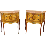 Fine Pair 1930s French Exotic Wood Inlaid Satinwood & Elm Rogue Marble Top Bedroom Side Table