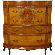 Finest Exotic Wood Banded & Inlaid French Marble Top Bedroom Chest c1930s