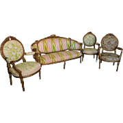 Antique 19th Century French Carved Giltwood w/ Rams Head Arms Louis XVI Style 4 Piece ...