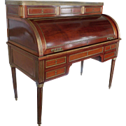 Antique French Louis XVI Style Mahogany w/ Bronze Cylinder Roll Top Desk ~ Late 19th ...