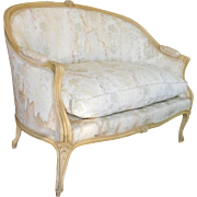 1950s  French Louis XVI Style Carved Frame Upholstered Settee ~ Bedroom Loveseat