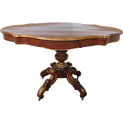 Antique Mahogany Carved French Victorian 19th Century Serpentine Center Entrance-Way Table