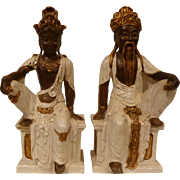 Pair Italian Terra Cotta Asian Figurines Signed Circa 1950's.