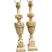 Pair Full Size Italian Alabaster Table Lamps Circa 1940's